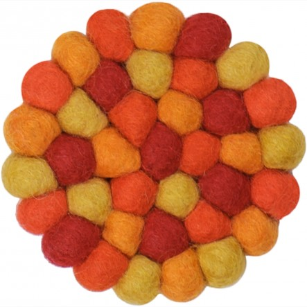 myfelt Loni round Glass Coaster, red and orange, Ø 9 cm