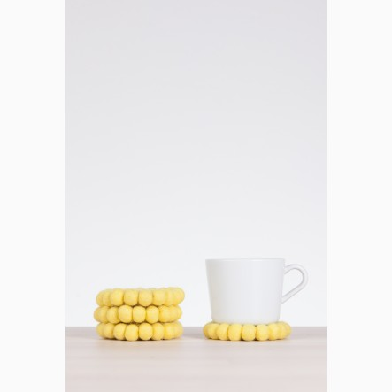 myfelt yellow, round Glass Coaster, Ø 9 cm