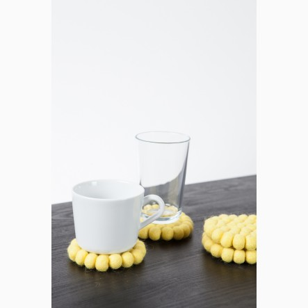 myfelt Glass Coaster, round, made of yellow felt balls, Ø 9 cm