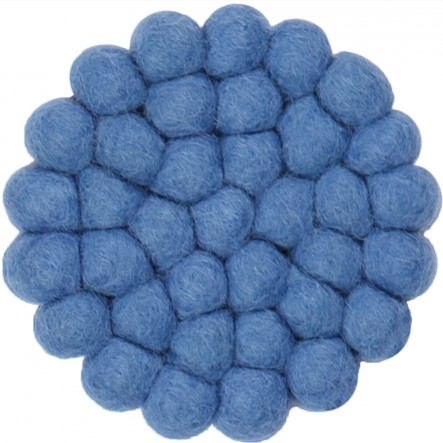 myfelt Mavi round, blue Glass Coaster, Ø 9 cm