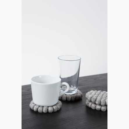 myfelt Glass Coaster, round, made of grey felt balls, Ø 9 cm