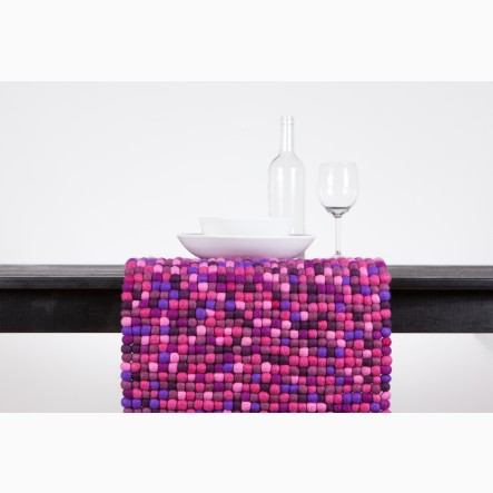 myfelt Table Runner made of purple felt balls, 40 x 70 cm