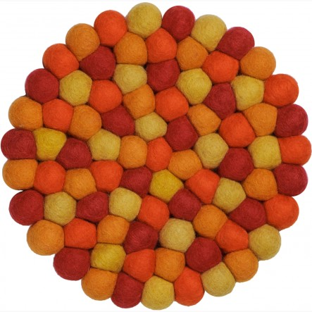 myfelt Loni Pot Coaster orange and red, round, Ø 20 cm